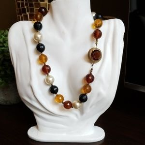 Vintage Faceted Acrylic Bead Glass Clasp Necklace